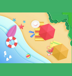 top view cartoon ocean sea beach background with vector image