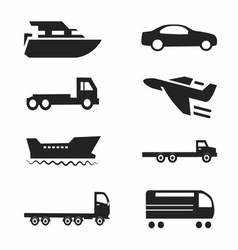 Transport Icons Cars Ships Trains Planes Se vector