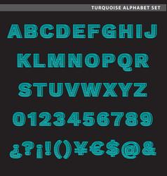 turquoise alphabet set vector image