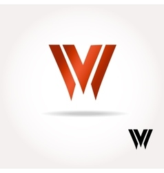 W letter bright colors logo vector image