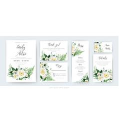 watercolor floral wedding set invite card menu vector image