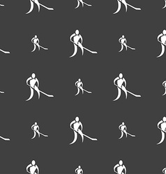 Winter sport Hockey icon sign Seamless pattern on vector