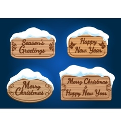 Wooden board signs with snow vector image