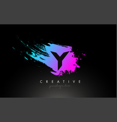 y artistic brush letter logo design in purple vector image