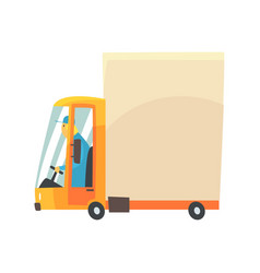 yellow cartoon delivery truck vector image