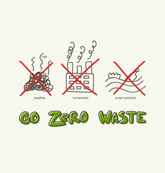 zero waste banner with lettering and doodle vector image