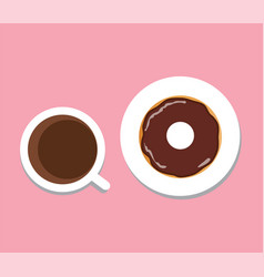 coffee donut vector image vector image