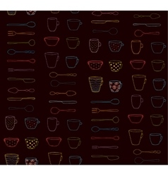 Cups Mugs Silverware Outline Seamless Pattern Neon vector image vector image