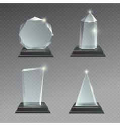 Empty glass trophy awards set vector image