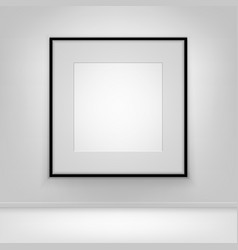 Empty white poster black frame on wall with floor vector