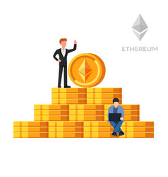 ethereum coins digital currency cryptocurrency vector image
