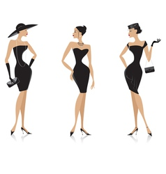 fashion black dress vector image vector image