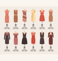 fashion woman shopping dresses collection set of vector image