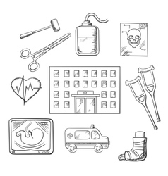 Hospital healthcare and medical objects vector image vector image