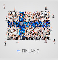 large group of people in the finland flag shape vector image vector image