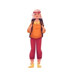 Senior old grey-haired woman travelling with a vector