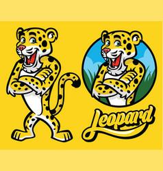 set of cartoon of leopard character vector image vector image