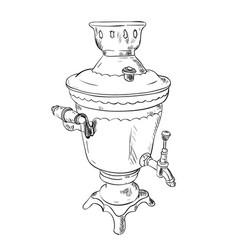 sketch of samovar vector image