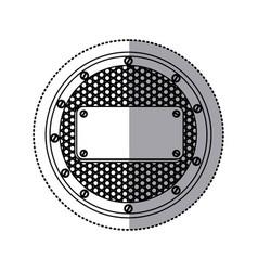sticker silhouette circular metallic frame with vector image vector image