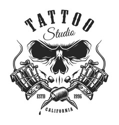 tattoo studio emblem with machines and skull vector image