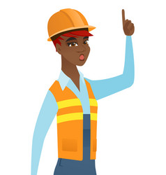 African builder with open mouth pointing finger up vector
