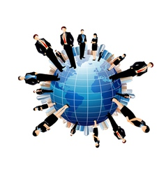 businessmen world vector image vector image