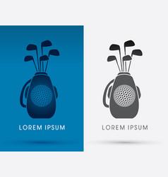 golf club bag with line golf ball vector image vector image
