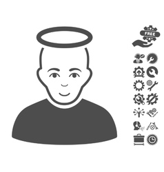 Holy man icon with tools bonus vector
