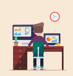 man working on computer laptop vie businessman vector image