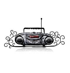 Retro cassette recorder sketch for your design vector image