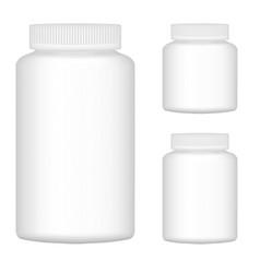 White Blank Plastic Bottle Set For Packaging vector image