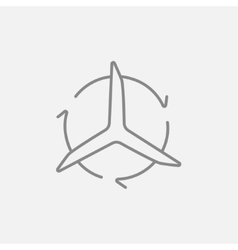 Windmill with arrows line icon vector