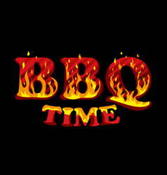fire sign bbq time logo design template vector image