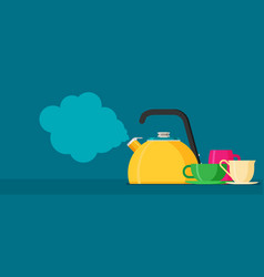 flat kettle with mugs vector image vector image