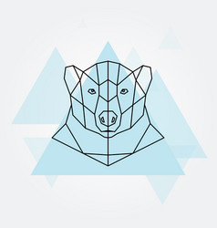 polar bear head geometric lines silhouette vector image vector image
