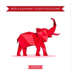 Red elephant logo with reflux and low poly vector image