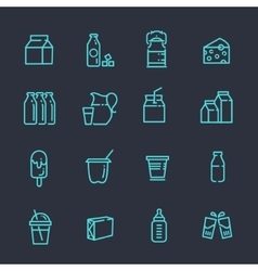 Set of icons for milk vector image vector image