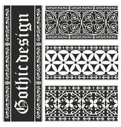 Set of seamless gothic floral ornaments vector image