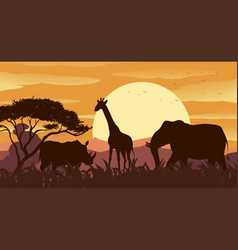 silhouette scene with wild animals at sunset vector image vector image