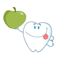 Smiling Tooth Holding Up A Green Apple vector image vector image