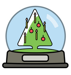 snow globe with christams tree vector image