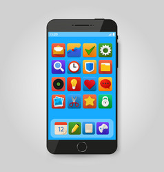 black mobile smart phone with app icon smartphone vector image