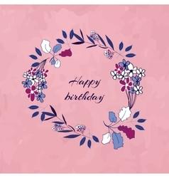 Floral birthday wreath vector image vector image