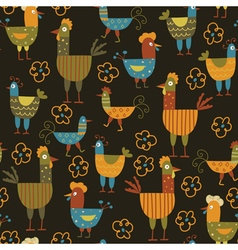 Funny hen seamless background vector image vector image