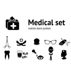 Medical set Symbols of health and medicine Black vector image