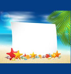 Ocean coast with shells vector image vector image