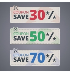 Scissors cutting coupons with discounts vector image