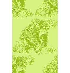 vintage of a koala bear seamless animal pattern vector image vector image
