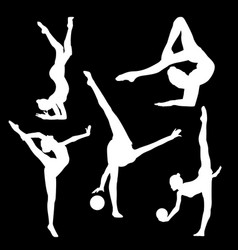 white silhouette of gymnast on black background vector image