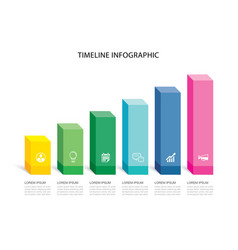 6 data infographics rectangle step growth success vector
